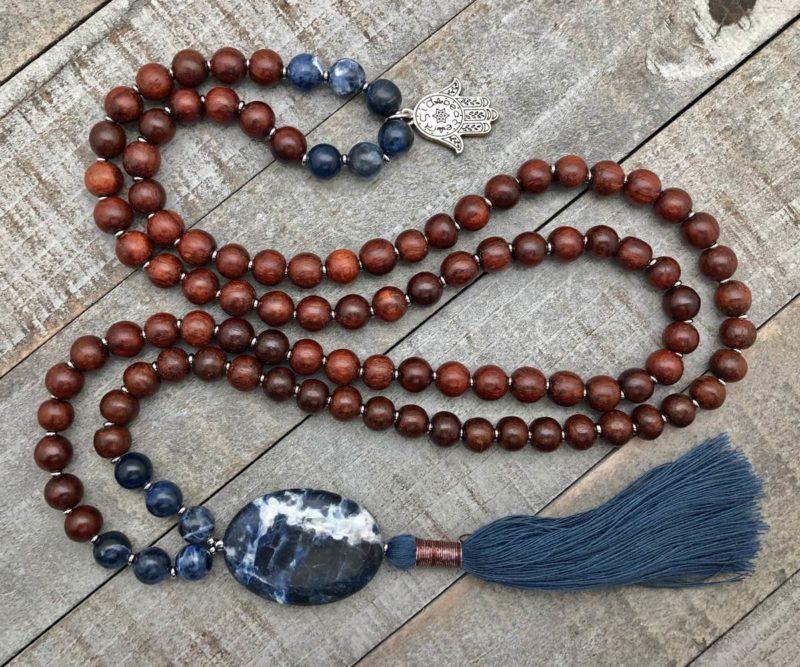 Sodalite Prayer Beads - sodalite rosewood mala with hamsa charm