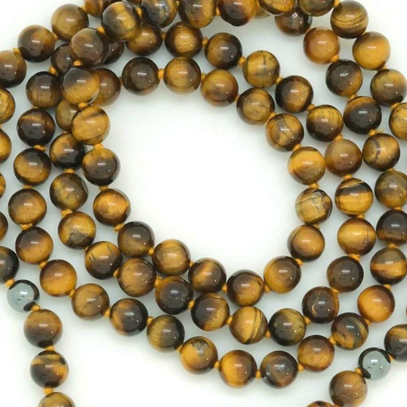 Courageous Kali Mala - tiger eye hematite beads