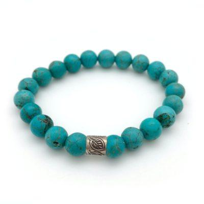 Bracelets & Wrist Malas - turquoise bracelet silver leaf