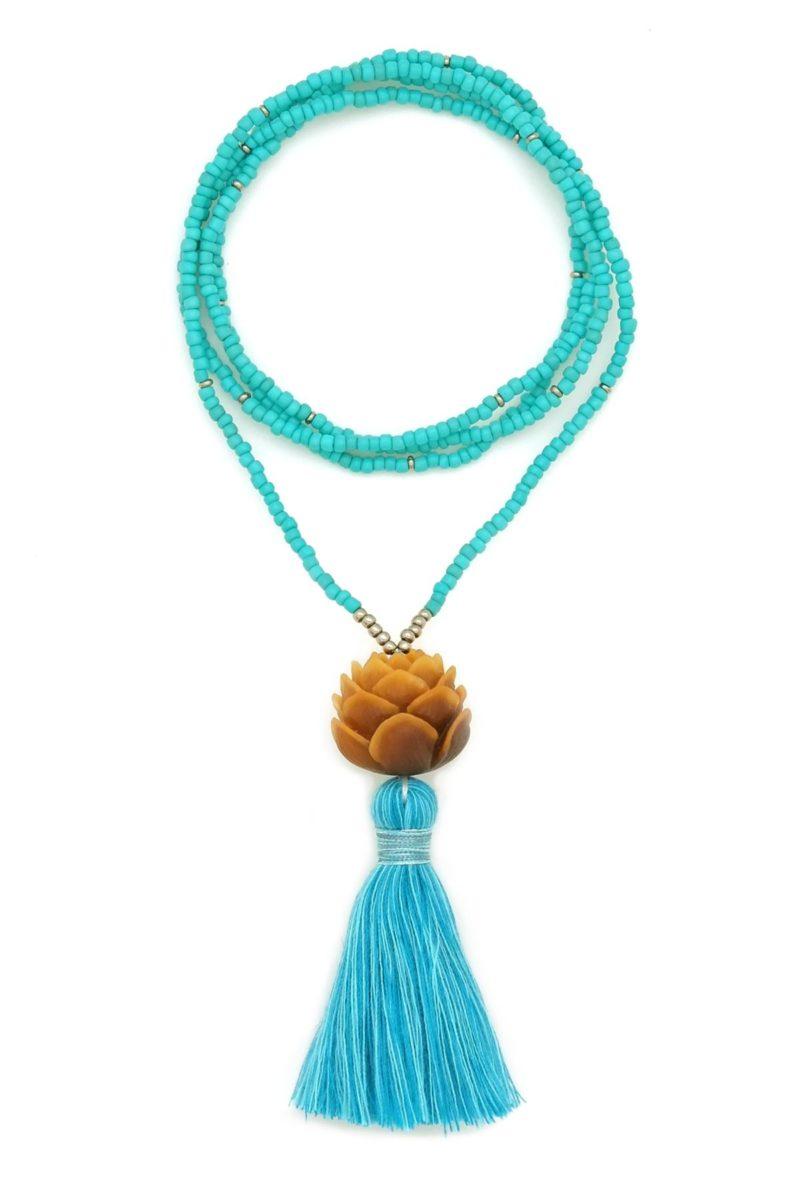 turquoise lotus tassel necklace