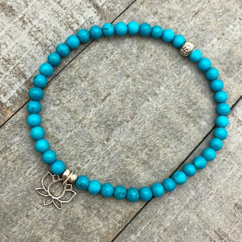 turquoise silver lotus bracelet