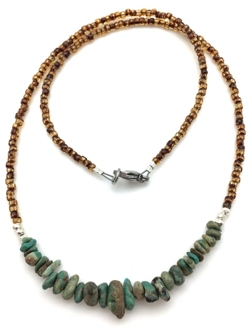 Turquoise Primal Necklace - turquoise silver necklace with amber sb 2