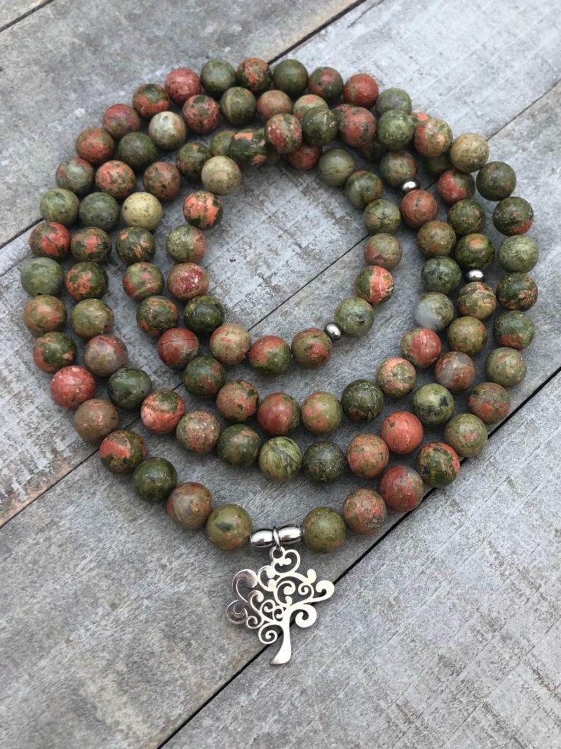 Awakening Prayer Beads - unakite tree mala