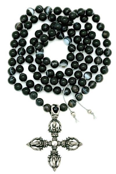 vajra cross black onyx mala