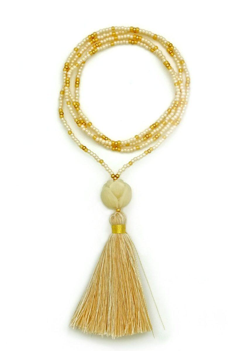 white & gold lotus tassel necklace