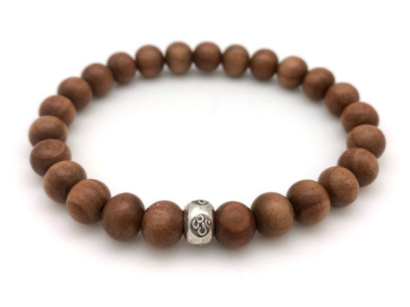 Sandalwood Om Bracelet - wood om bracelet
