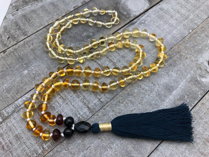 yellow amber beaded necklace